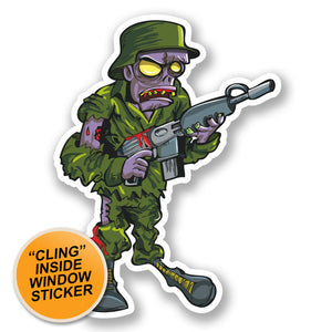 2 x Army Soldier Zombie WINDOW CLING STICKER Car Van Campervan Glass #5588