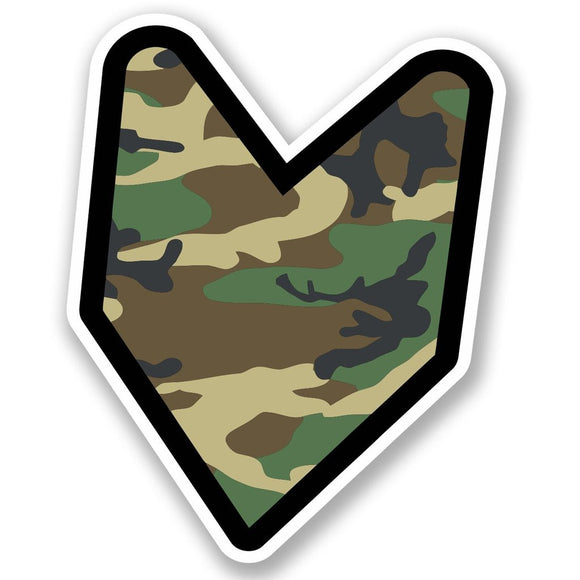 2 x Wakaba Leaf Military Camo Vinyl Sticker #5598