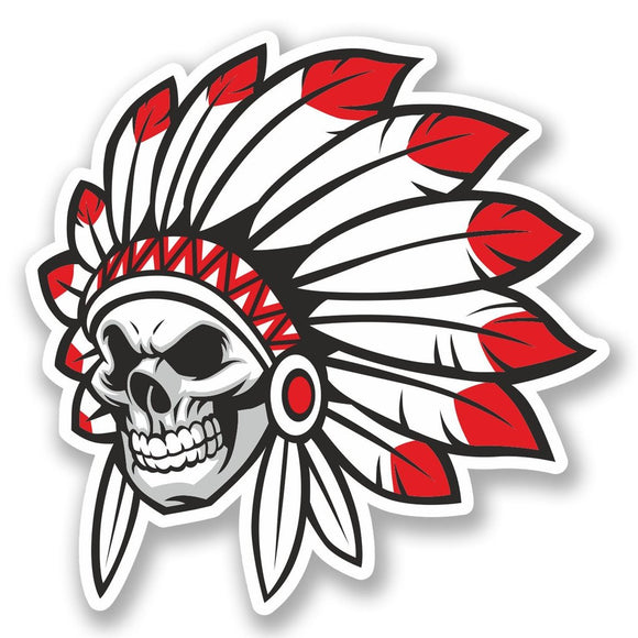 2 x Indian Skull Vinyl Sticker #5622