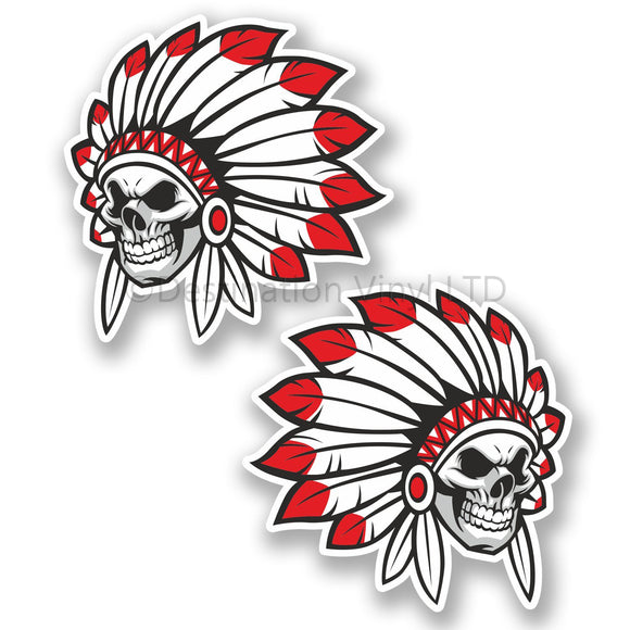 2 x Indian Skull WINDOW CLING STICKER Car Van Campervan Glass #5623