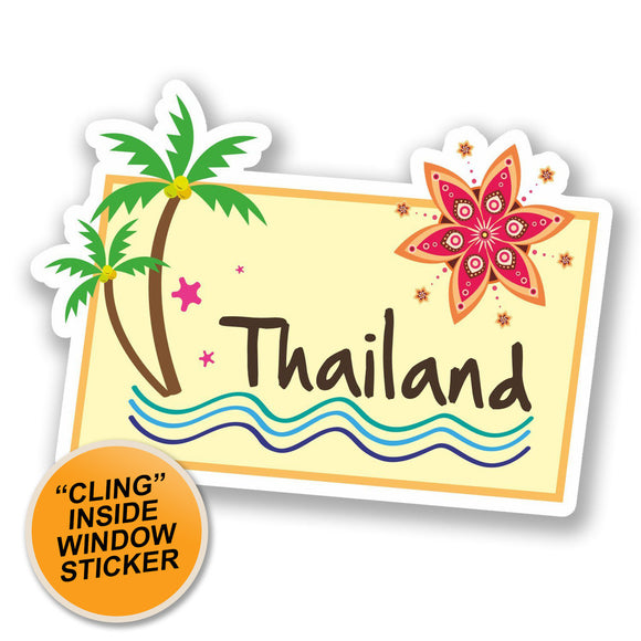 2 x Thailand Thai WINDOW CLING STICKER Car Van Campervan Glass #5644