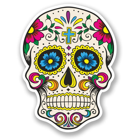 2 x Sugar Skull Vinyl Sticker #5667