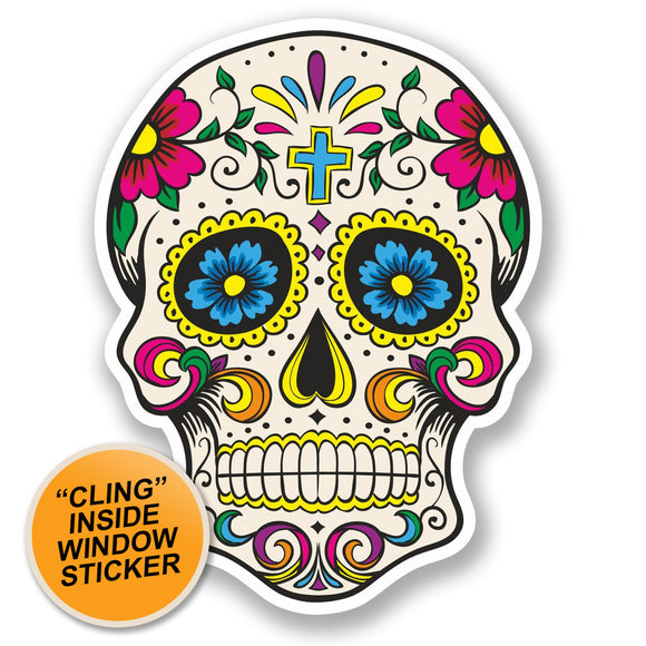 2 x Sugar Skull WINDOW CLING STICKER Car Van Campervan Glass #5667