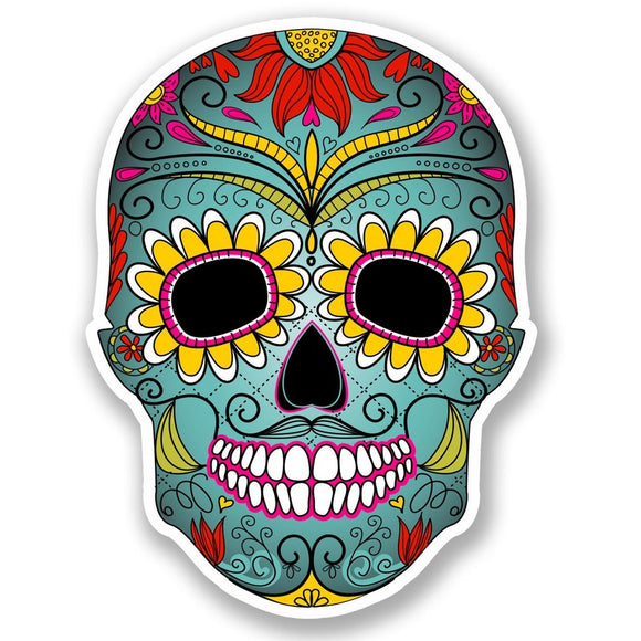2 x Mexican Sugar Skull Vinyl Sticker #5674