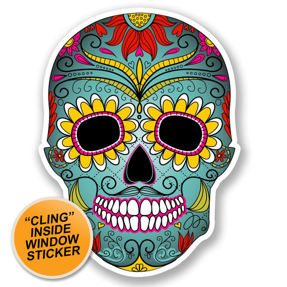 2 x Mexican Sugar Skull WINDOW CLING STICKER Car Van Campervan Glass #5674