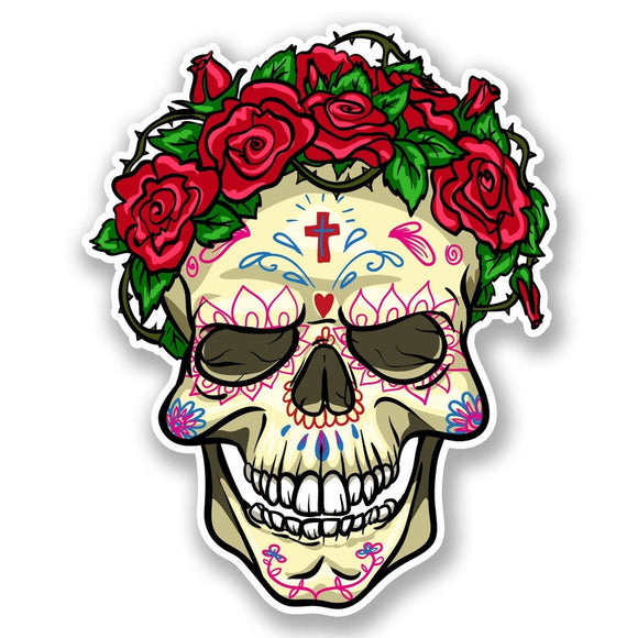 2 x Mexican Sugar Skull Vinyl Sticker #5676