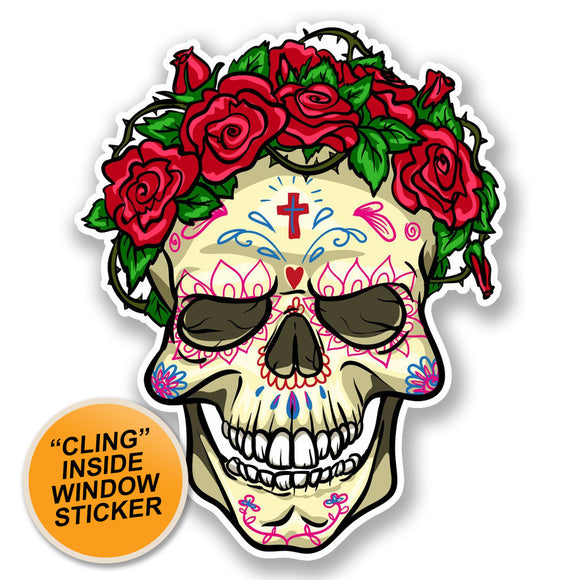 2 x Mexican Sugar Skull WINDOW CLING STICKER Car Van Campervan Glass #5676