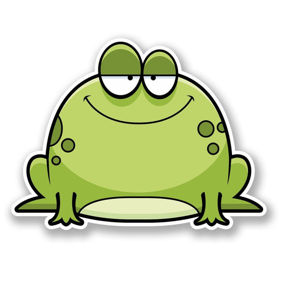 2 x Happy Green Frog Vinyl Sticker #5713