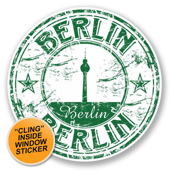 2 x Berlin Germany WINDOW CLING STICKER Car Van Campervan Glass #5763
