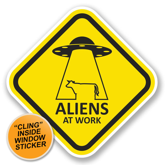 2 x Aliens at Work WINDOW CLING STICKER Car Van Campervan Glass #5791