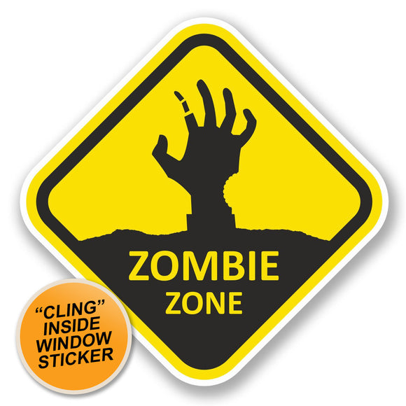 2 x Zombie Zone WINDOW CLING STICKER Car Van Campervan Glass #5792