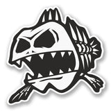 2 x Zombie Fish Vinyl Sticker #5817