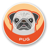 2 x Pug Dog Vinyl Sticker #5993