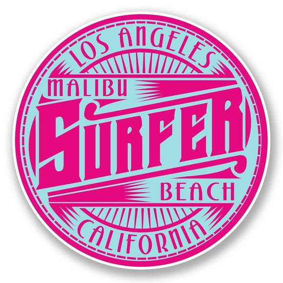 2 x Malibu Surfer Beach Los Angeles USA Vinyl Sticker #6006