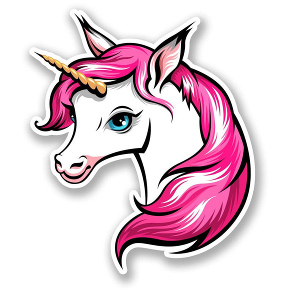 2 x Pretty Pink Unicorn Vinyl Sticker #6013