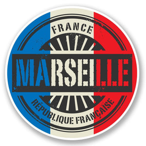 2 x Marseille France Vinyl Sticker #6023