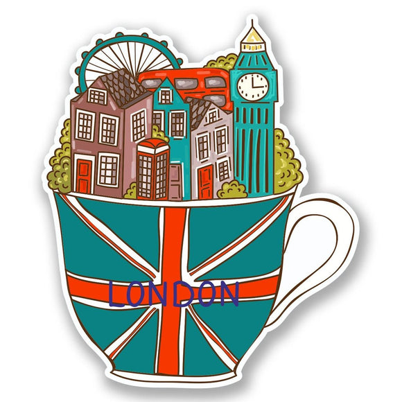 2 x London Teacup Vinyl Sticker #6028