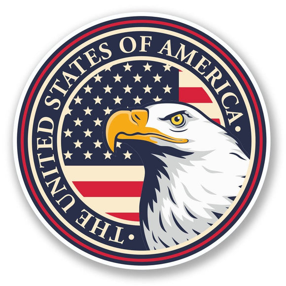 2 x USA Eagle Vinyl Sticker #6029