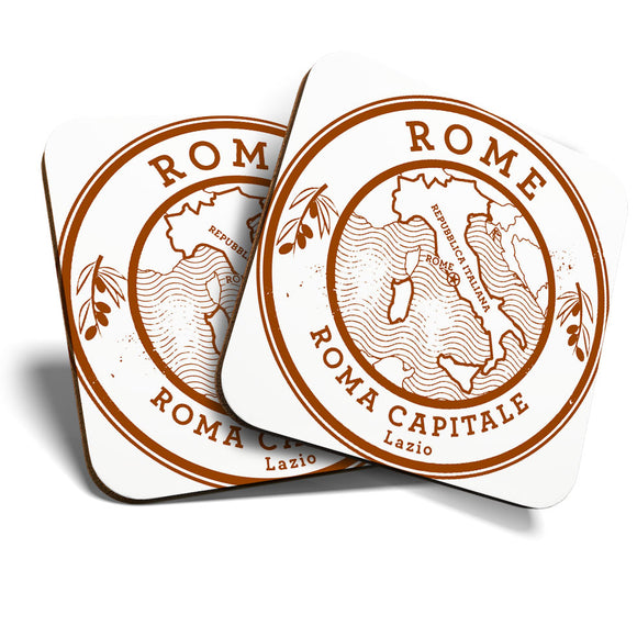 Great Coasters (Set of 2) Square / Glossy Quality Coasters / Tabletop Protection for Any Table Type - Roma Capitale Rome Italy Travel Map  #6044