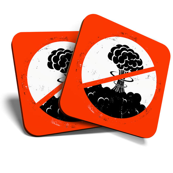 Great Coasters (Set of 2) Square / Glossy Quality Coasters / Tabletop Protection for Any Table Type - No War Atomic Bomb Peace on Earth  #6046