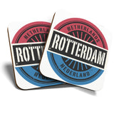 Great Coasters (Set of 2) Square / Glossy Quality Coasters / Tabletop Protection for Any Table Type - Rotterdam Netherlands Nederland Flag  #6048