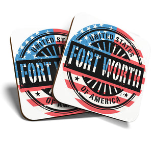Great Coasters (Set of 2) Square / Glossy Quality Coasters / Tabletop Protection for Any Table Type - Fort Worth USA American Flag Stamp  #6056