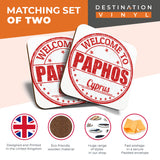Great Coasters (Set of 2) Square / Glossy Quality Coasters / Tabletop Protection for Any Table Type - Paphos Cyprus Travel Stamp   #6057