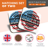 Great Coasters (Set of 2) Square / Glossy Quality Coasters / Tabletop Protection for Any Table Type - Honolulu Hawaii Travel American Flag  #6066