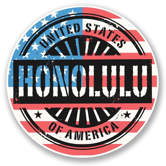 2 x Honolulu Hawaii USA Vinyl Sticker #6066