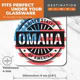 Great Coasters (Set of 2) Square / Glossy Quality Coasters / Tabletop Protection for Any Table Type - Omaha Nebraska USA American Flag  #6069