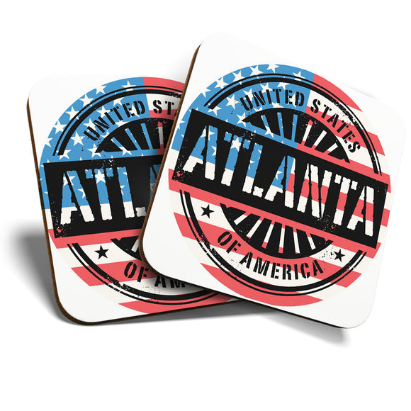 Great Coasters (Set of 2) Square / Glossy Quality Coasters / Tabletop Protection for Any Table Type - Atlanta Georgia USA American Flag  #6075