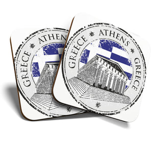 Great Coasters (Set of 2) Square / Glossy Quality Coasters / Tabletop Protection for Any Table Type - Greece Athens Architecture Travel   #6084
