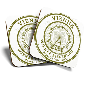 Great Coasters (Set of 2) Square / Glossy Quality Coasters / Tabletop Protection for Any Table Type - Vienna Wiener Riesenrad Travel Stamp  #6093