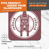 Great Coasters (Set of 2) Square / Glossy Quality Coasters / Tabletop Protection for Any Table Type - Prague Czech Republic Travel Stamp  #6094