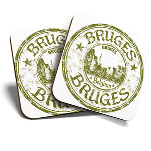 Great Coasters (Set of 2) Square / Glossy Quality Coasters / Tabletop Protection for Any Table Type - Bruges Belgium Travel Stamp   #6100