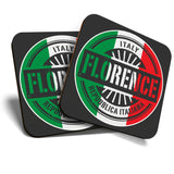 Great Coasters (Set of 2) Square / Glossy Quality Coasters / Tabletop Protection for Any Table Type - Florence Italy Italian Flag Travel  #6107