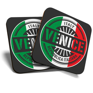Great Coasters (Set of 2) Square / Glossy Quality Coasters / Tabletop Protection for Any Table Type - Venice Italy Italian Flag Travel  #6108