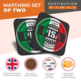 Great Coasters (Set of 2) Square / Glossy Quality Coasters / Tabletop Protection for Any Table Type - Pisa Italy Italian Flag Travel  #6109