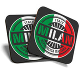 Great Coasters (Set of 2) Square / Glossy Quality Coasters / Tabletop Protection for Any Table Type - Milan Italy Italian Flag Travel  #6110