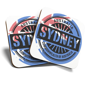 Great Coasters (Set of 2) Square / Glossy Quality Coasters / Tabletop Protection for Any Table Type - Sydney Australia Australian Flag  #6113