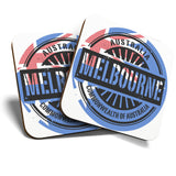 Great Coasters (Set of 2) Square / Glossy Quality Coasters / Tabletop Protection for Any Table Type - Melbourne Australia Australian Flag  #6114