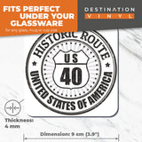 Great Coasters (Set of 2) Square / Glossy Quality Coasters / Tabletop Protection for Any Table Type - US40 Historic Route 40 Road Travel USA  #6119