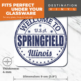 Great Coasters (Set of 2) Square / Glossy Quality Coasters / Tabletop Protection for Any Table Type - Welcome To Springfield Illinois USA  #6120