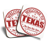 Great Coasters (Set of 2) Square / Glossy Quality Coasters / Tabletop Protection for Any Table Type - Welcome To Texas Lone Star State USA  #6122