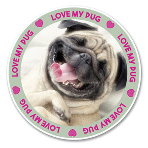 2 x Funny Cute Tan Pug Dog Vinyl Sticker #6144