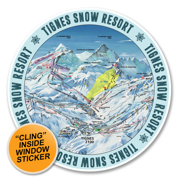 2 x Tignes Ski Snowboard WINDOW CLING STICKER Car Van Campervan Glass #6146