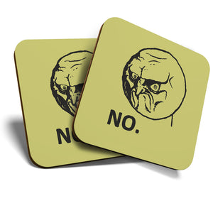 Great Coasters (Set of 2) Square / Glossy Quality Coasters / Tabletop Protection for Any Table Type - Funny Grumpy Dad Meme Face NO  #6156