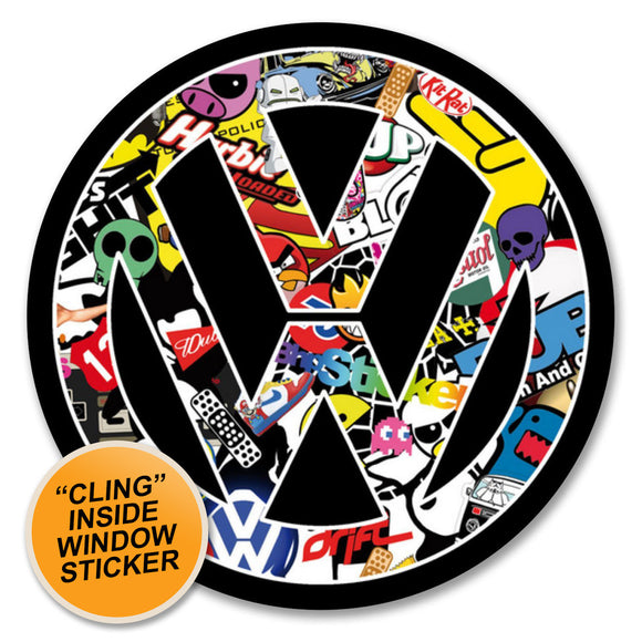 2 x VW Stickerbomb WINDOW CLING STICKER Car Van Campervan Glass #6170