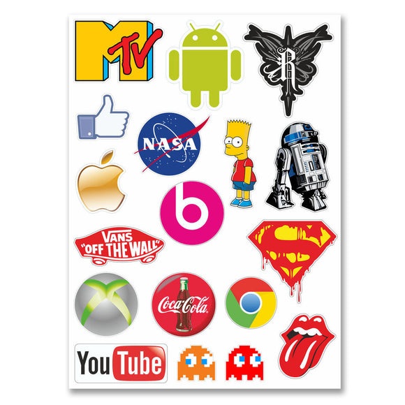 A4 Sheet - 18 x Stickers Decals Vinyl Laptop Guitar Sticker Bomb Cool Mix #6225