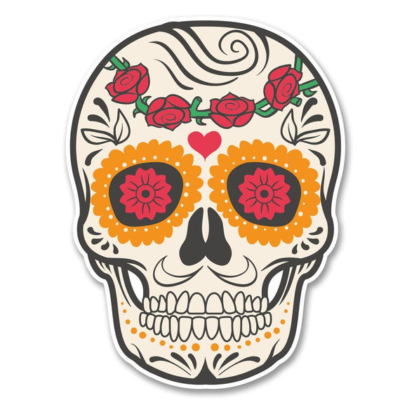 2 x Sugar Skull Vinyl Sticker #6226